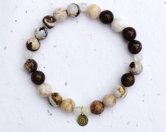 Support Seed Moonstone Bracelet Natural Moonstone Doula Jewellery,Midwife Gift Postpartum Gift Pregnancy Jewellery Sterling Silver Bead