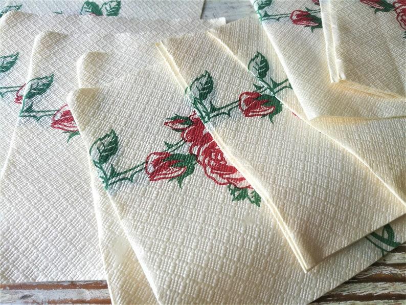 Soviet paper Napkins set of 14 napkins Roses Napkins Floral napkins  Rustic Home Decor Collectible Soviet era napkins