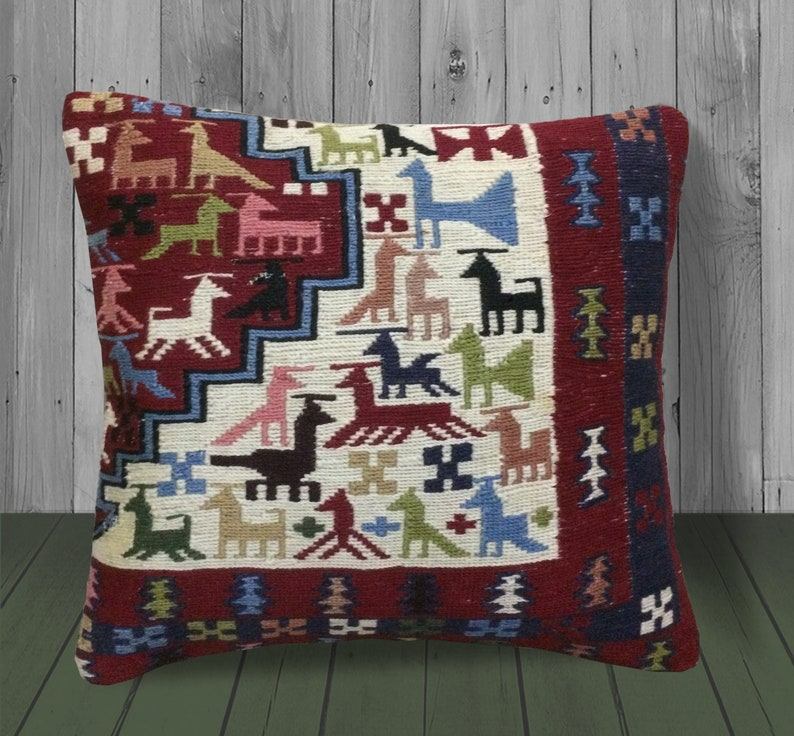 Geometric Outdoor Throw Pillow Covers 18x18 Red Blue White image 0