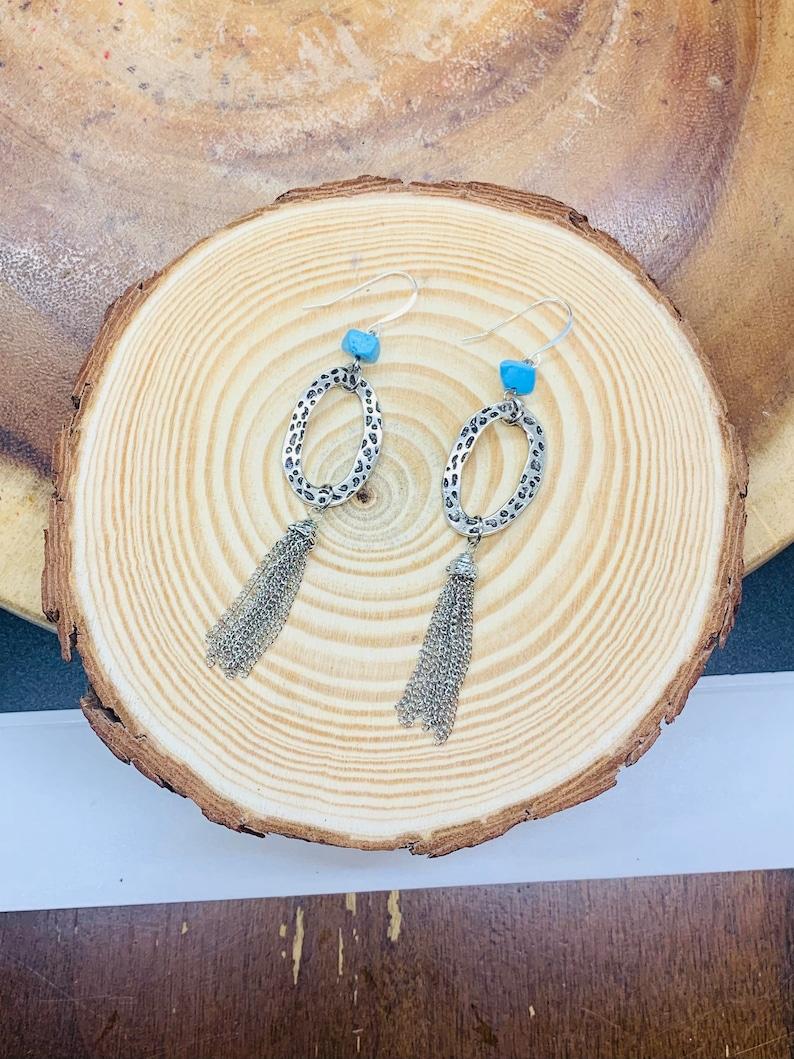Wharf Rat SilverTurquoise Boho Dangle Earrings