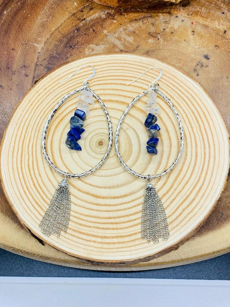 Earthly Blue SilverBlue Gemstone Teardrop Earrings