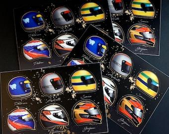 Lotus F1 Helmet Sticker Sheet Senna Raikkonen Grosjean Andretti Petrov Ronnie Peterson