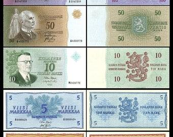 03 Issue 1986-10 Banknotes 2x 10,50,100,500,1000 Finnish Markka