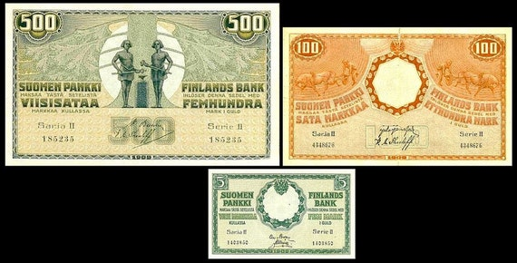 Peoples Commissariat 1-500 Finnish Markka Edition 1909/&1916 reproduction 25 6 old banknotes 1918