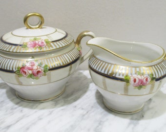 Green Border 5 14 Diameter made in the Early 1900/'s Vintage Noritake The Alsace Dessert Bowl Set of 10 Pink Floral and Gold Trim
