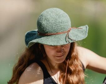 Crochet Wide Brim Sunhat - Olive Green
