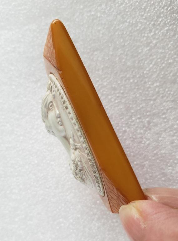 Bakelite & Celluloid Butterscotch Cameo Pin - image 2
