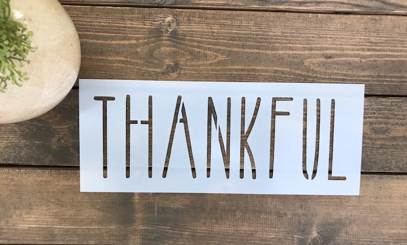 Skinny Font Stencils,Gift For Crafter Stencil For Painting Stencil Fall Stencils Stencil For Wood Thankful Word Stencil