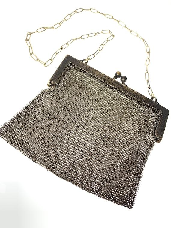 German silver & metal mesh vintage evening bag / p
