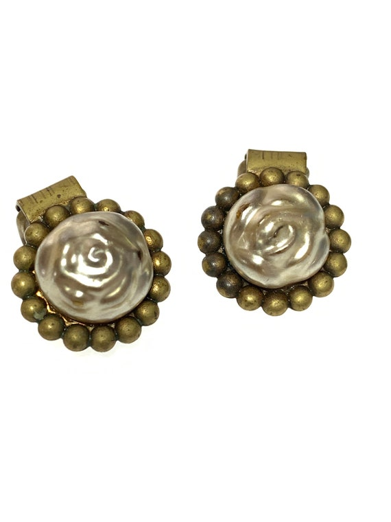 Antique Baroque Pearl Clip On Earrings