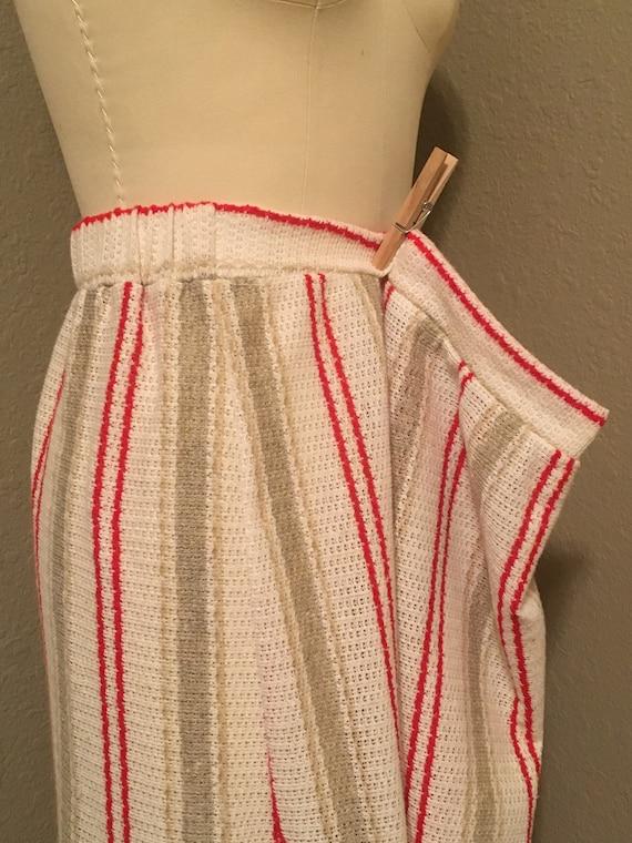 1970's Plus Size Vertical Stripe Knit Midi Skirt … - image 6