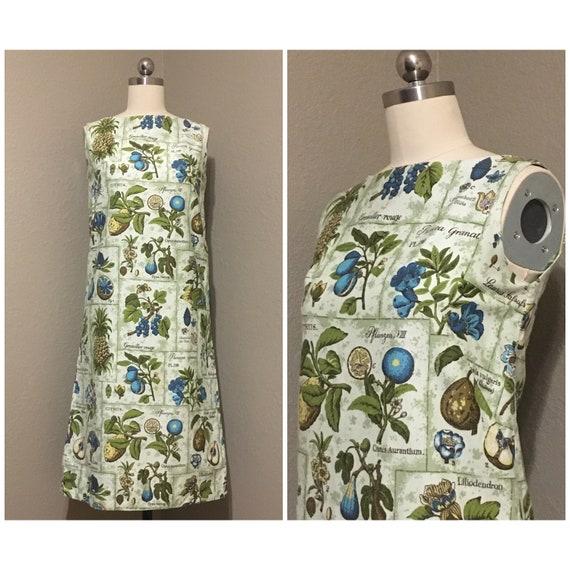 Vintage 1960s Lemon Fruit Print Silk Shirtdress  XS S
