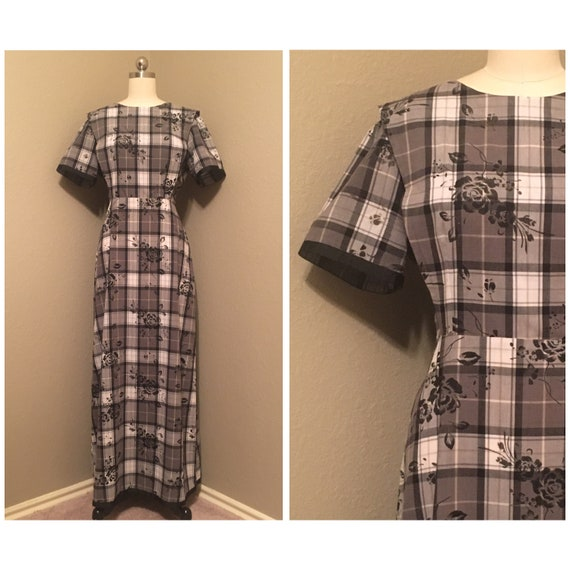 1980's does 1940's Plaid and Floral Maxi Dress wit