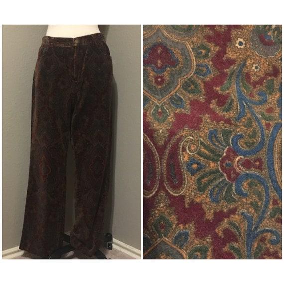 1990's-00's Paisley Velvet Pants Straight Leg Fall