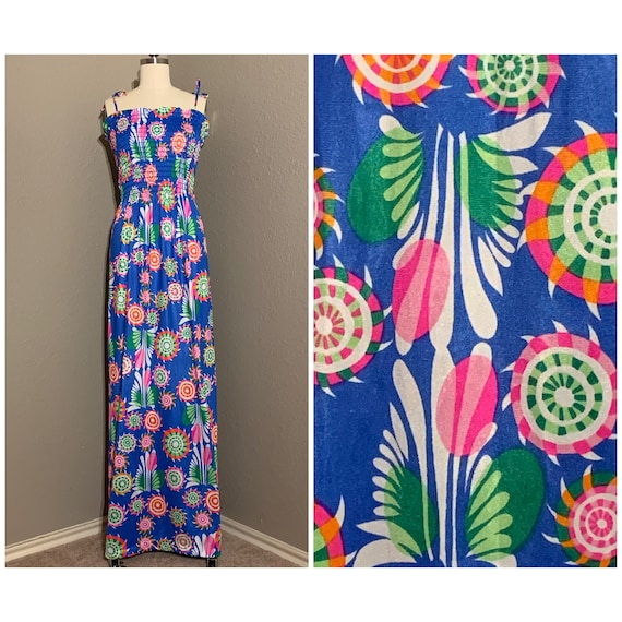 60-70s smock dress Maxi crepe dress Abstract print Mid century  Formal gown Tailored gown Psychedelic print Novelty print Boho Party dress