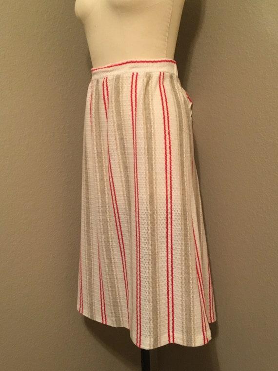 1970's Plus Size Vertical Stripe Knit Midi Skirt … - image 4