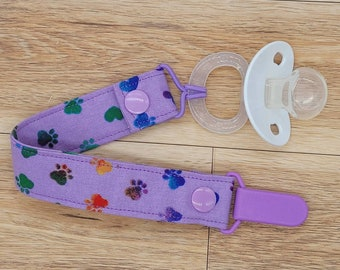 Gender Neutral Baby Shower Gift Paw Print Baby Gift Binky Leash New Baby Gift Dog Pacifier Clip Toy Strap Dummy Chain Soother Holder