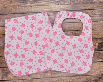 Combo Set Pink Camouflage Camo Baby Girl Receiving Blanket Burp Cloth Flannel Handmade Baby Shower Gift