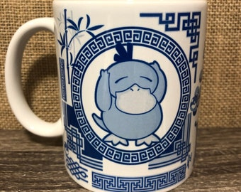 Psyduck Blue Willow inspired mug, 11oz Ceramic Coffee Cup/Mug, Pokemon fan art, Psyduck spirit animal mug, Wonderful gift for Pokemon fan
