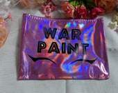 8x6 quot WAR PAINT Liquid Eyeliner Holographic Rainbow Pink Makeup Cosmetic Bag Storage Brushes Cute Kawaii Christmas Birthday Funny Gift