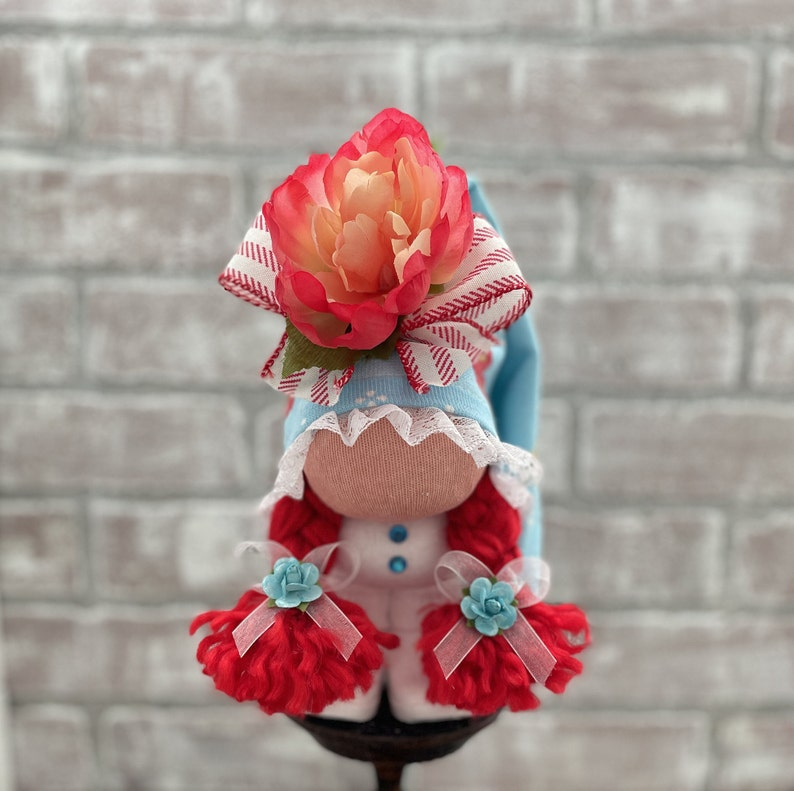 Scandinavian Gnome Kitchen Decor Slouchy Flower Hat Gnome Gnome Summer Country Flower Girl Tiered Tray Decor Farmhouse Decor