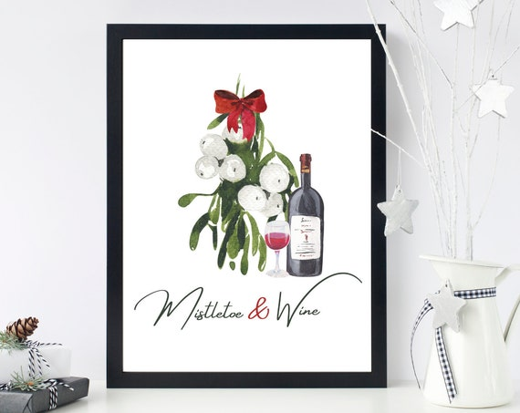 Mistletoe & Wine Watercolour Christmas Print | Christmas Wall Art | Winter Decor | Holiday Printable Art | Christmas Decoration | Wine Gift