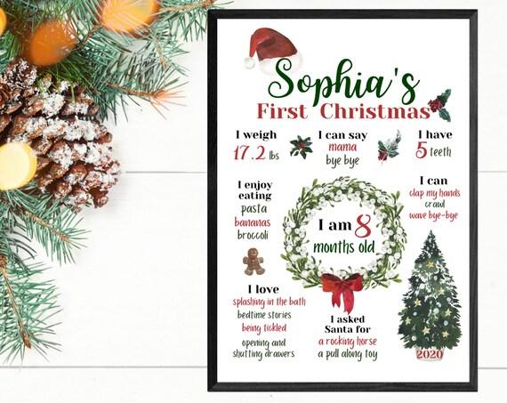 Personalised Baby's First Christmas Wall Art Print | Newborn | Milestones | 2020 Keepsake | Nursery | Gift | Present | Special Memory