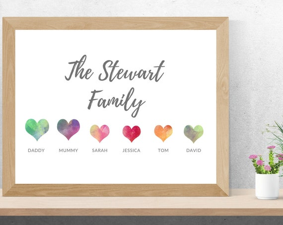 Personalised Watercolour Family Hearts Print | New Family Gift | New Home | Wedding Gift | Anniversary Present | Family Gift
