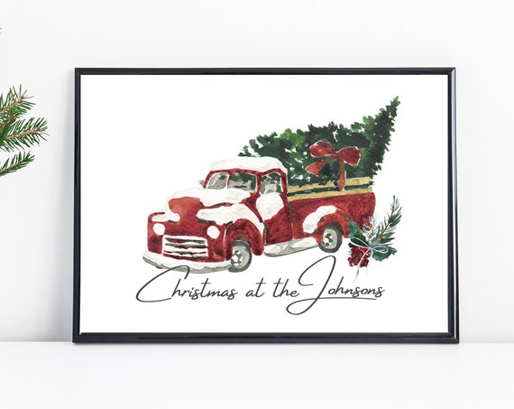 Personalised Watercolour Red Truck Christmas Tree Print | Christmas At The | Christmas Wall Art | Family Christmas | Christmas With The