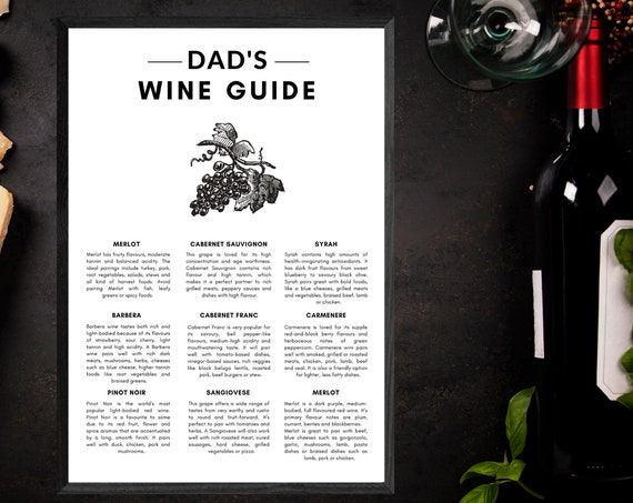 Dad's Wine Guide | Personalised Father's Day Present | Wine Print | Wall Art | Decor | Kitchen | Bar | Birthday Gift for Wine Lover