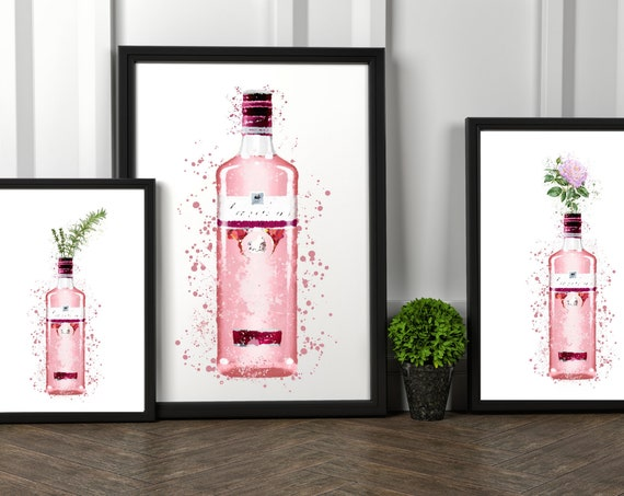 Pink Gin Watercolour Splash Bottle | Rosemary & Thyme | Painted Rose | Gin Print | Wall Art | Decor | Kitchen | Bar | Mother's Day Gift