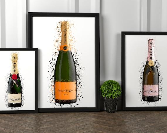 Champagne Watercolour Splash Bottles | Rose Champagne Lover | Wall Art Print | Wall Art | Decor | Kitchen | Bar | Birthday Gift Present