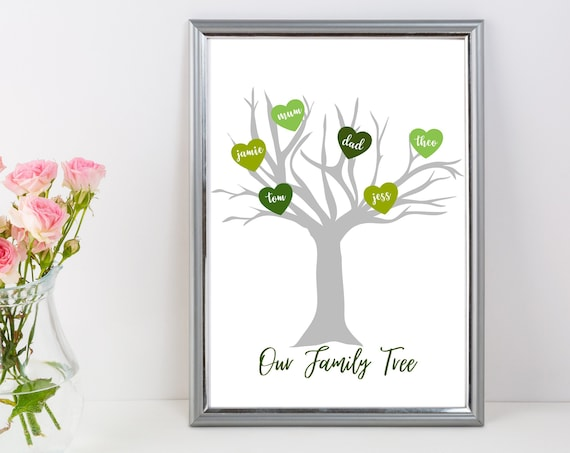 Personalised Our Family Tree | Gift for Dad | Father's Day | Anniversary | New Home | New Family | New Baby | Gift for Mum | Mother's Day