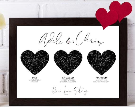 Personalised Our Love Story Constellations | Special Places | Couples Print | Wall Art | Star Map | Valentine's Day Present For Her, Him