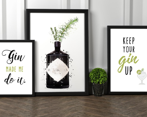 Gin Made Me Do It | Watercolour Gin Bottle | Keep Your Gin Up | Gin Lover Print | Wall Art | Decor | Kitchen | Bar | Birthday Gift Present