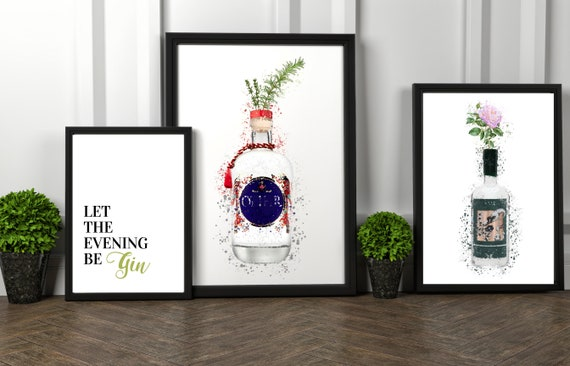 Let The Evening Be Gin | Opihr Watercolour | Sipsmith Watercolour | Gin Lover Print | Wall Art | Decor | Kitchen | Bar | Birthday Present