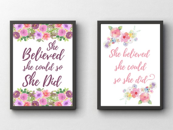 She Believed She Could So She Did | Inspirational Quote | Watercolour Floral Wall Art | Motivational Poster | Gift For Her