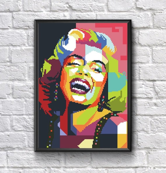 Cross Stitch pattern PDF Movie star Famous Person Pop Art Marilyn Monroe portrait Home Decor Movie Actress Popular Singer