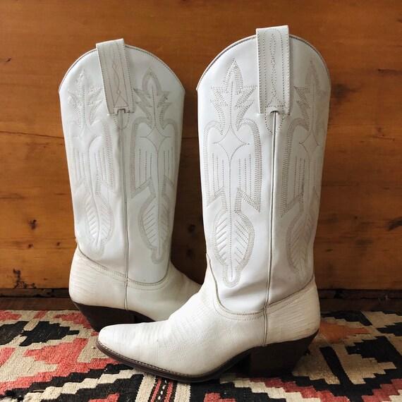 Vintage White Womens Cowboy Boots, size 7