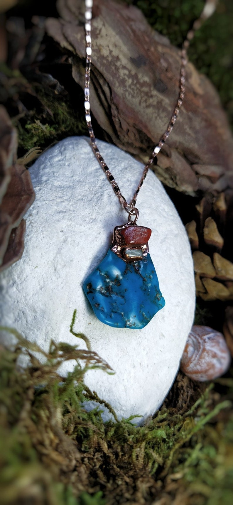 Stabilized Turquoise Necklace Red Jaspe Yellow Calcite Copper and gold plated rose