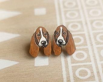 BASSET HOUND EARRINGS Custom Dog Face Photo Picture Dangle Button Earrings for Girls Women Basset Dog Lover Gifts Stuff Memorial