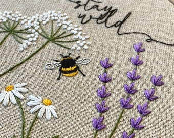 Wild Flowers & Bee linen embroidery kit   floral embroidery kit   lavender needlecraft kit   Bridgerton inspired embroidery project   Meadow
