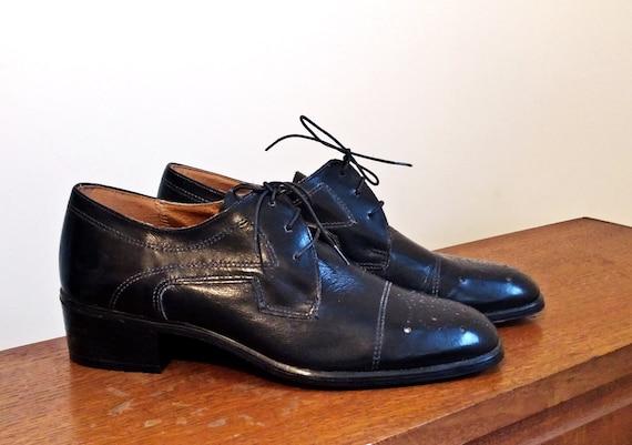 Black oxford leather shoes - Vintage - 1970's