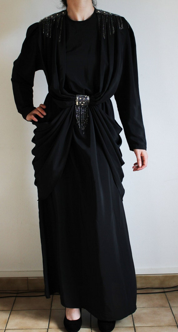 Black Evening Dress - Drapes - Sequins / Black eve