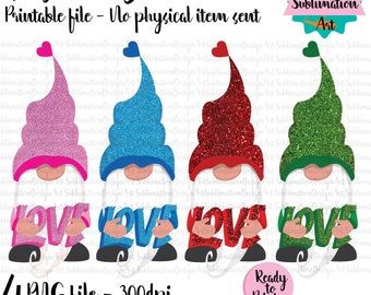 BUNDLE 4 Love gnomes, Valentine's Day Gnomes Clipart,Sublimation Designs,PNG,Digital download,I love you gnomes,PNG File For Sublimation