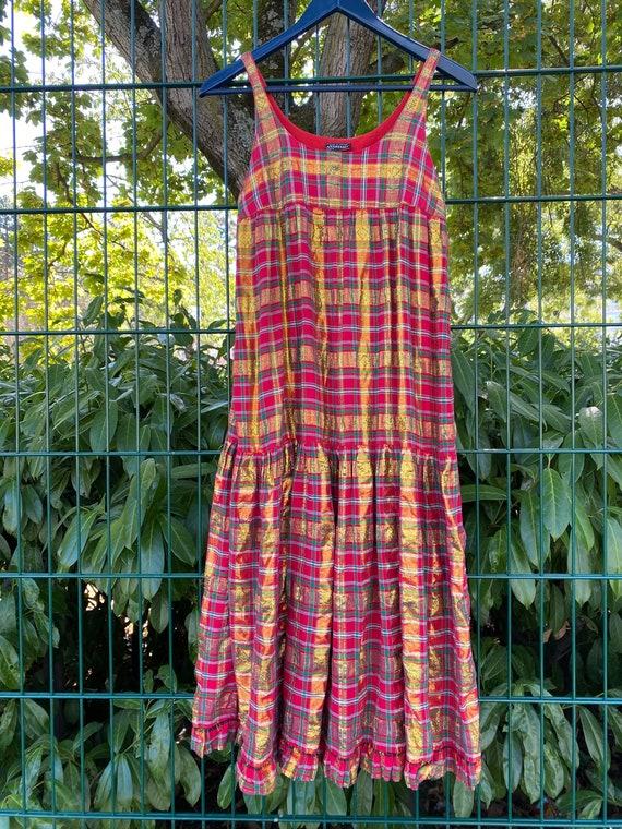 1970s Anastasia Paris tartan strap dress, gold lur