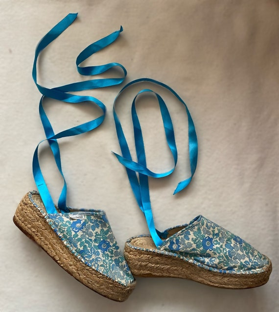 1980s Cacharel floral Liberty platform summer shoe
