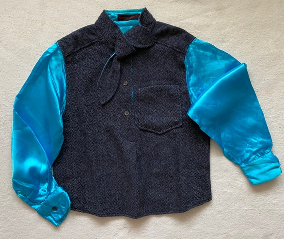 Rare 1970s Kenzo Jap bi-fabric shirt, wool and blu