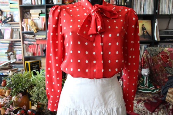 1980s Ted Lapidus red hot polka dot and lavaliere