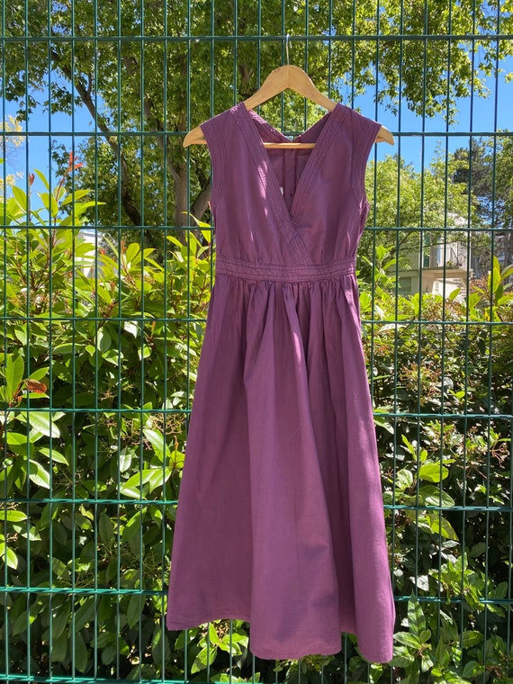 1970s Laura ashley Wales purple apron dress, butto